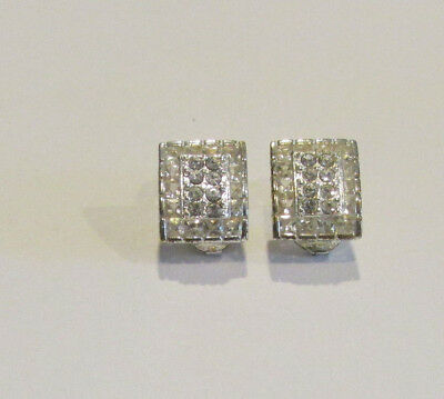 Vintage Signed Monet Silver Crystal Clip Earrings Marvelous