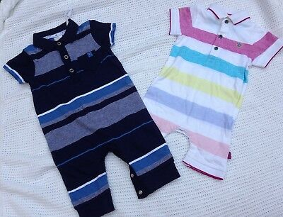 2 Baby Boys Rompers With Polo Neck Detail