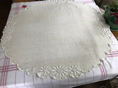 "39"" vintage round linen embroidered tablecloth table topper"