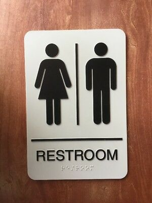 Unisex Restroom Sign with Braille 6X9 in