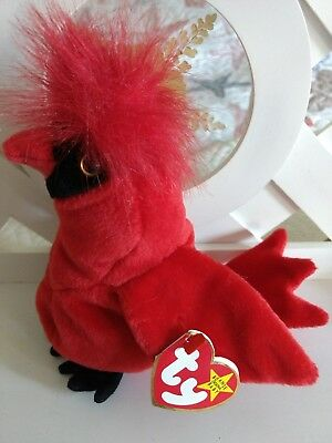 TY Beanie Baby ~ MAC Cardinal Bird ~ NEW & Retired with Error on Tag PE Pellets