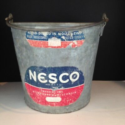 Vintage Nesco Galvanized Bucket Original Label Hot Dipped in Zinc Milwaukee WI