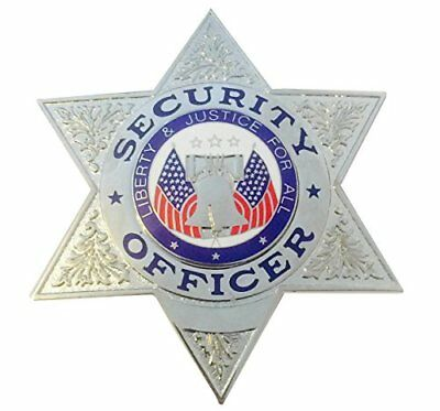 HWC Six (6) Point Star Security Officer Badge Nickel with Full Color  Seal