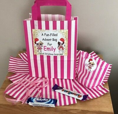 Personalised LOL Doll Advent Calendar Bag +24 Paper Bags & 24 Christmas Stickers