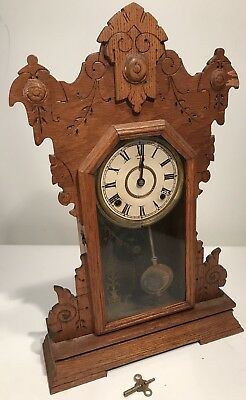 "Antique Clock Seth Thomas Oak Gingerbread Carved 23"" Tall W/Key Thomaston"