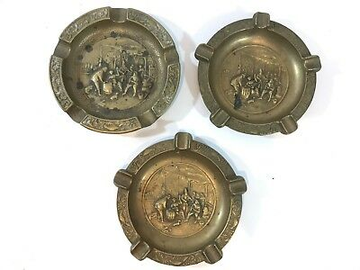 Bundle Of Vintage Solid Brass Ashtrays X3 Relief Scenic Design Smoking Old