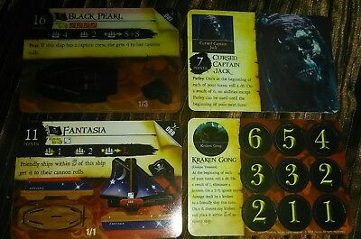 Super Rare Set (Mint Unpunched) Wizkids Pirates of the Carribean CSG black pearl