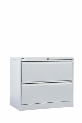 2 Drawer Lateral Storage Steel Filing Office Lockable Cabinet GO - Heavy Duty