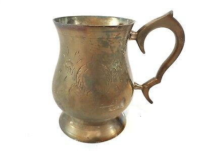 Vintage Silver Plated On Brass Tankard Mug Cup Collectable Hand Engraved