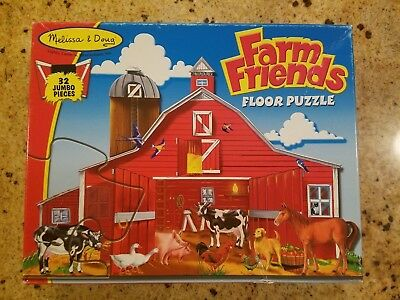 Melissa And Doug Farm Friends Floor Puzzle 32 Jumbo Pieces