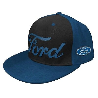 Ford PREMIUM 3D Embroidered Flat Peak Hat Cap sewn on logo patch on side Gift