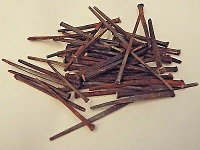 """50 Antique VIntage Square Head Nails 1870s Reclaimed Homestead Barn 2"""" - 2 1/"""