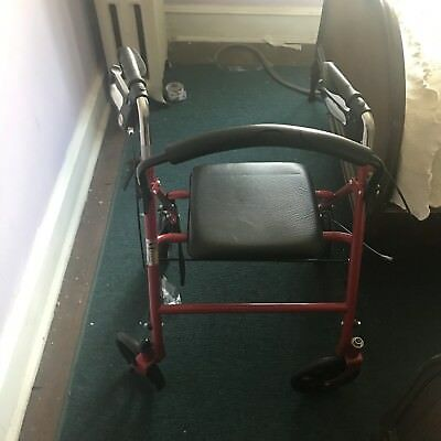 Medical 4 Wheel Walker Rollator With Fold up Removable Back Support 300 LB