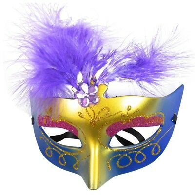 Women Purple Powder Feather Decor Plastic Fancy Ball Venetian Mask M7U4