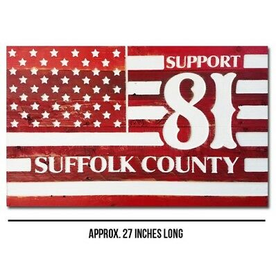 HELLS ANGELS SUPPORT 81 Suffolk County LI NY Wood Red & White Support Flag