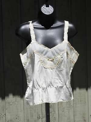 Vintage Carillon Ivory Cami Camisole Slip Top - NOT PERFECT