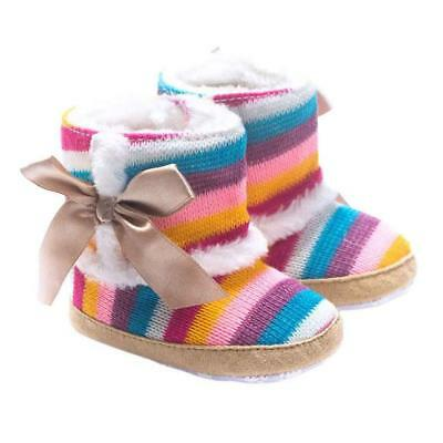 Baby girls Winter Warm Soft Sole Rainbow Color Crib Shoes Toddlers Cotton Boots