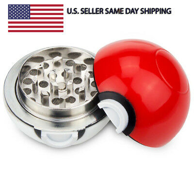 "Pokemon Pokeball Herb Spice Grinder Mill Tobacco Aluminum 3 pc 55mm 1.5"" Cosplay"