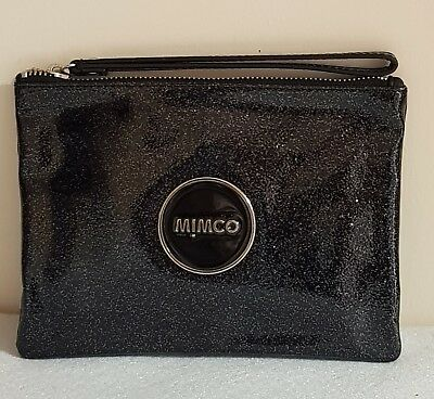 Free Post Mimco Lovely Black Shimmer Medium Pouch Wallet Bnwt Dust Bag