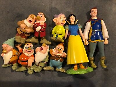 Disney Snow White, Prince Charming, Seven Dwarves 9 piece Figurine Set