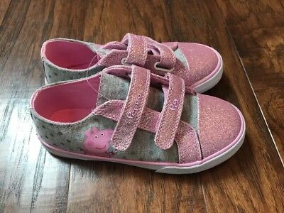 NEW Toddler Girls Peppa Pig Canvas Shoes Pink Glitter Size 7 10 11 12 13