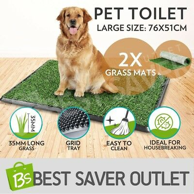 Indoor Dog Pet Toilet Training Tray Puppy Portable Large Loo Pad 2 Grass Mats