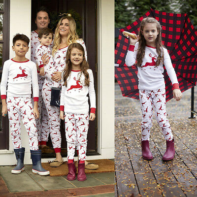 AU Family Matching Christmas Pajamas PJs Sets Xmas Mom Dad Children Sleepwear