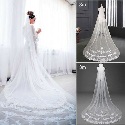 White Ivory 1T Cathedral Applique Edge Lace Bridal Wedding Veil With Comb 3M
