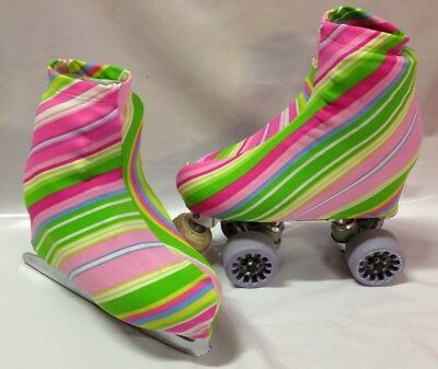 Cotton Candy Stripe Boot Covers for Roller Skates/Ice Skates LARGE  ONLY