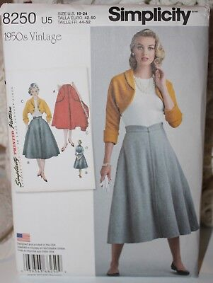 Simplicity Vintage !950's Sewing Pattern, US Size 16-24, Skirt and Jacket