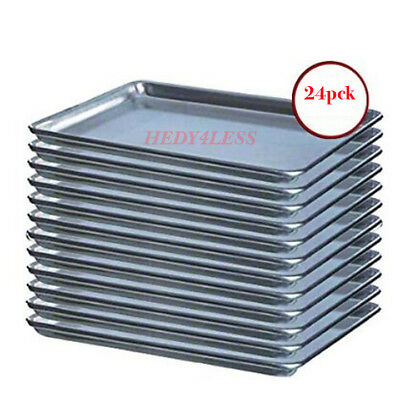 "(24-Pack) 18"" x 13"" Half Size 19 Gauge Aluminum Bun / Sheet Pan - Wire in Rim"