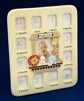 Baby First Year Collage Photo Frame Ceramic Noah's Ark Quality Keepsake Gift