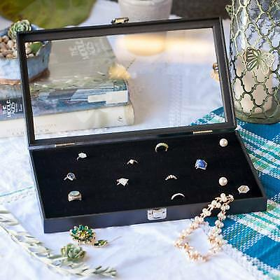 Ring Boxes Jewelry Accessories Organizer Storage Display Case Box Glass Top New