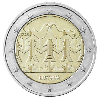 2 Euro Lithuania 2018 * Lithuanian Songs and Dances * Unc