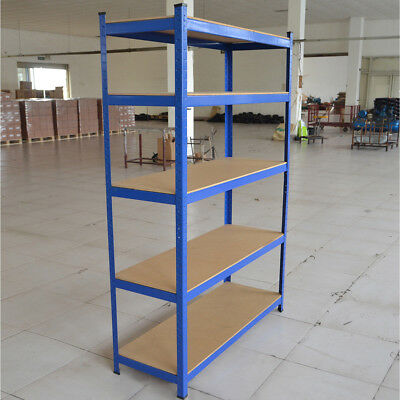 5 Tier Metal Shelving Bays Unit Boltless Racking Shelves Storage Shed 180cm