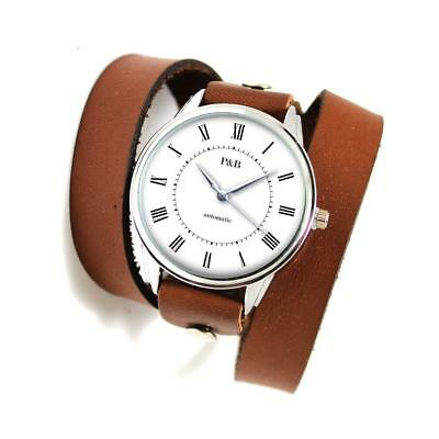 Watch Buckle Classic Genuine Leather Retro Wrist Strap Vintage Thick Clasp Long