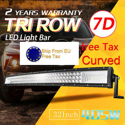 7D+Tri-Row 32inch 405W Curved LED Work Light Bar Spot Flood Jeep Truck Boat EU