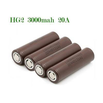 4x LG 18650 HG2 3000mAh/20A Rechargeable High Drain Li-ion Battery Flat Top Vape