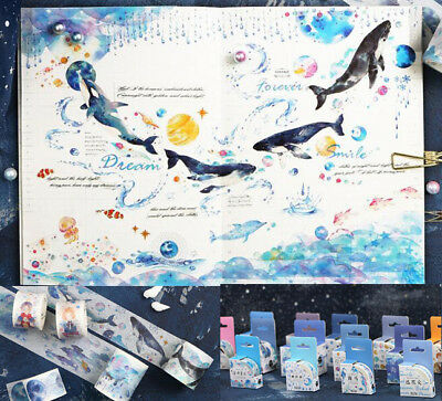 Hot Sea World Blue whale DIY Paper Sticky Adhesive Sticker Decorative Washi Tape