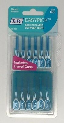 TEPE EASY PICK INTERDENTAL BRUSH, BLUE SIZE: M/L | 4 x PACK OF 36 | BEST PRICE