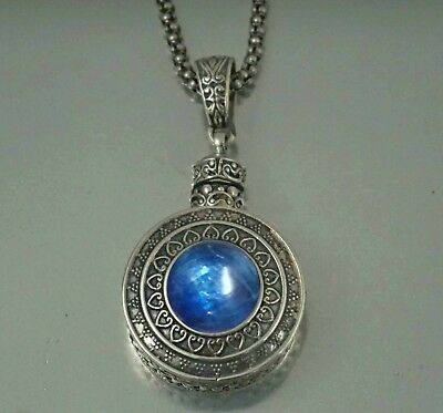 Snuff Pendant Necklace Mini Spoon Attached! Kyanite Sterling Silver Handmade