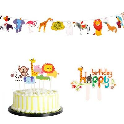 Jungle Animal Birthday Cupcake Kids Cake Toppers Children Party Paper Banner