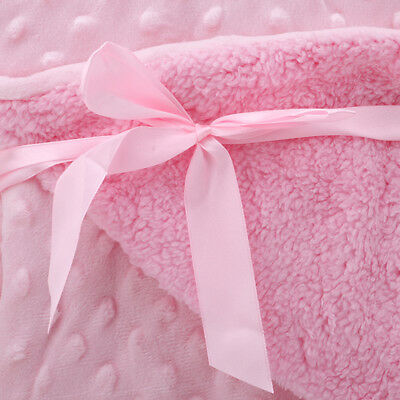Short Plush Blanket Baby  Soft Fleece Pram Crib Bedding Girl Boy SM