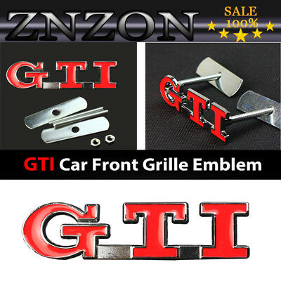 Hot Red GTI Logo 3D Metal Racing Rally Front Hood Grill Grille Emblem Badges