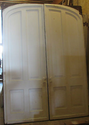 "1850's 4 Panel 8' 5"" x 6' 2"" Foot Walnut Set of Arched Pocket Doors"