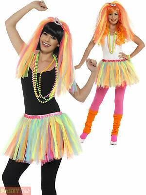 Ladies 1980s Neon Tutu Veil + Tiara Party Princess Hen Adult Fancy Dress Costume