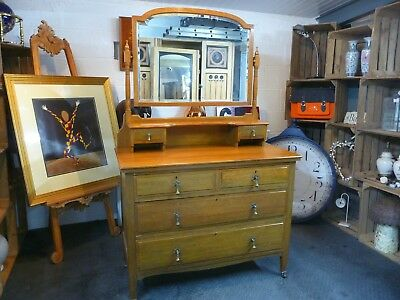 Antique Victorian Dressing Table / Chest Arts and Crafts Art Nouveau