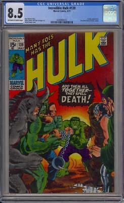 Marvel 1968 Incredible Hulk #139 CGC 8.5 OW to W Pages