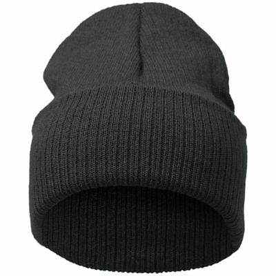 Pure color stripe knitting hat dark gray T4T2