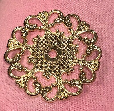 Vintage Allison Hardware Japan Filigree Checker Swirl Backplate Gold Drawer Pull